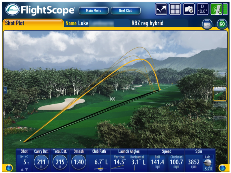 Flightscope app Velocity Shaft data 2